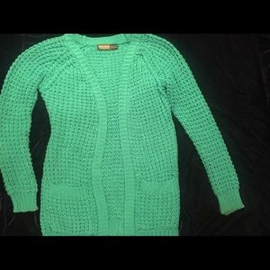 Turquoise Chunky Knit Cardigan sweater
